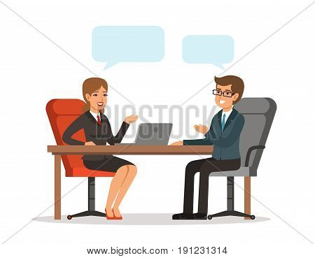 Business conversation. Man and woman at the table. Vector concept picture in cartoon style. Woman character person conversation with businessman illustration