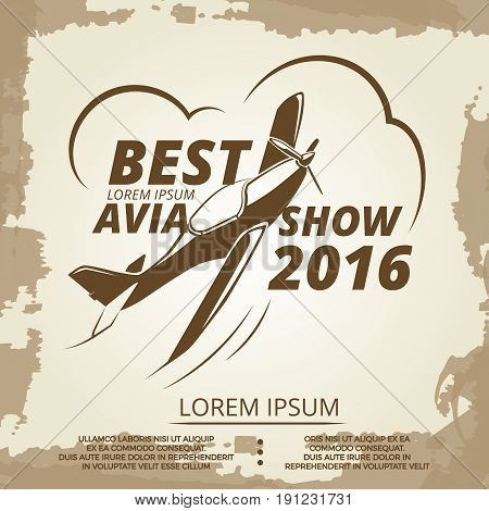 Avia show vintage poster design with airplane. Banner vector illustration