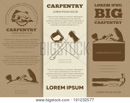 Carpentry tools brochure flyers template design. Set banner vector illustration