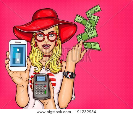 pop art illustration of a young girl holding a smartphone and throws cash. Concept poster technology electronic payments, online shopping, e-commerce
