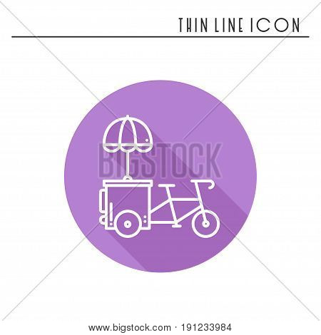 Street food retail thin line icon. Tricycle trade cart. Fast food trolley bike, bicycle. Wheel shop, cafe, mobile kiosk, stall. Vector style linear icon. Isolated illustration. Symbols