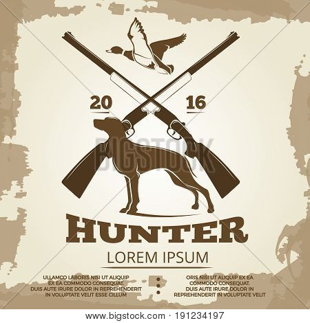 Hunting vintage poster design with guns, dog and duck. Hunt banner vector illustration