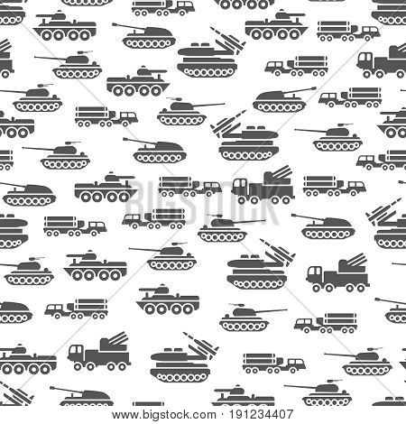 Army transport seamles pattern design - military transportation background. Army transport vector illustration