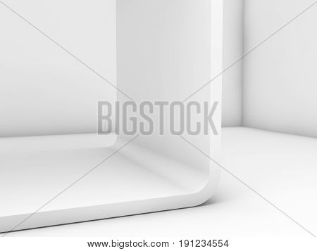 White Room With Chamfer Installation. 3D Render