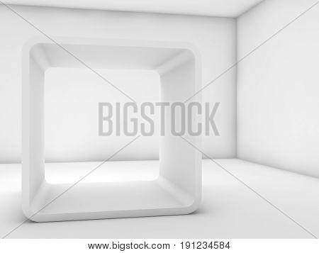 White Chamfer Box Frame Installation. 3D Render