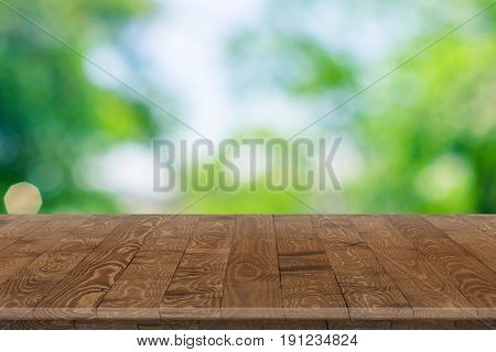 Fitted wooden worktop surface. Empty kitchen wooden table space platform.