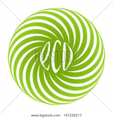 Logo for shop of natural eco food products, vector spiral green circle with caligraphic text eco