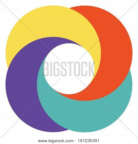Template abstract logo diaphragm camera, colorful circles vector pattern of overlapping circles
