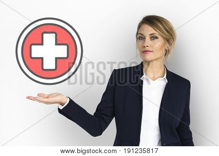 Model Show Plus Positive Red Cross Sign Icon