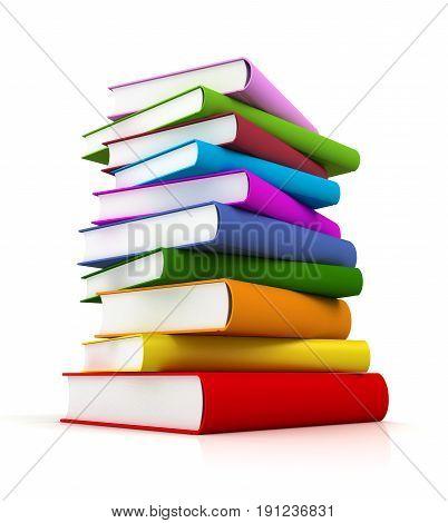 coloured books 3d illustration on white background