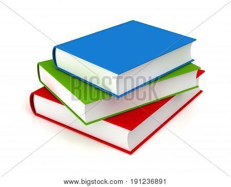 books 3d illustration isolated on white background