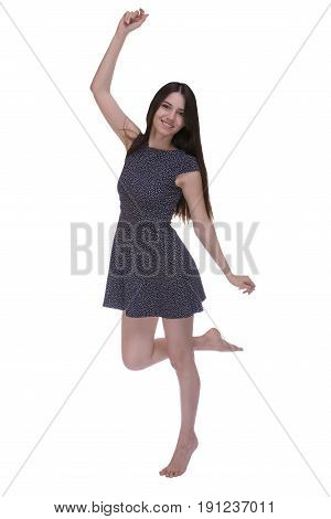 Happy barefoot woman isolated on white background