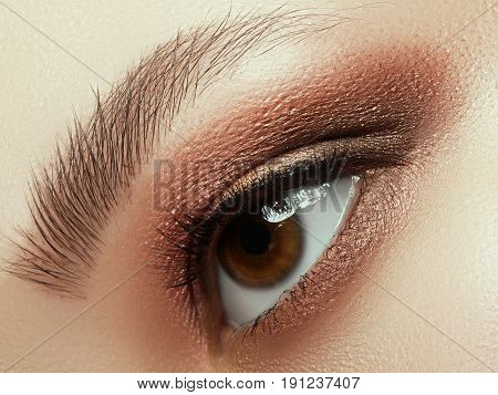 Close Up Of Blue Woman Eye With Beautiful Brown With Red And Orange Shades Smokey Eyes Makeup. Moder