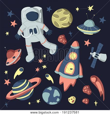 Space set, vector illustration. Rocket, space station, astronaut in spacesuit, planets, and other elements on the space theme.