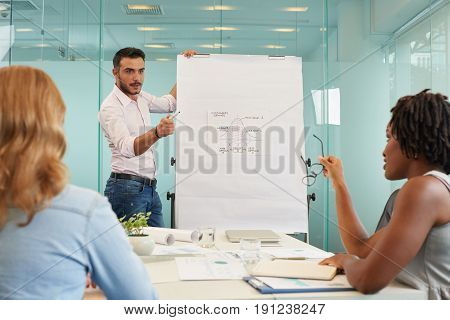 Multi-ethnic group of white collar workers analyzing results of accomplished work while having meeting in spacious boardroom