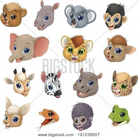 Vector illustration set of funny exotic animals, heads.