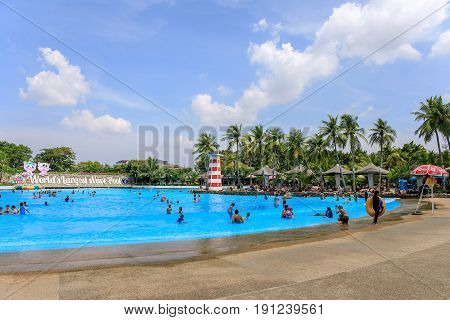Siam Park City, Bangkok, Thailand - April 16, 2017 : Large or huge swimming pool of Siam Park City or SuanSiam, Bangkok, Thailand.