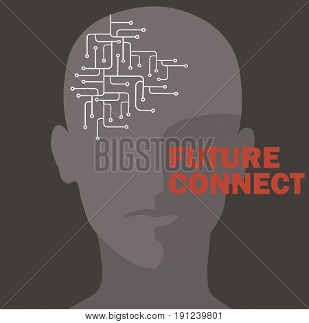 Artificial intelligence connection. Human brain circuit. Future concept design vector illustration