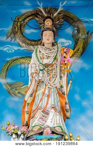 Bangkok, Thailand - April 16, 2017 : Guan Im or GuanIm statue in Bangkok, Thailand