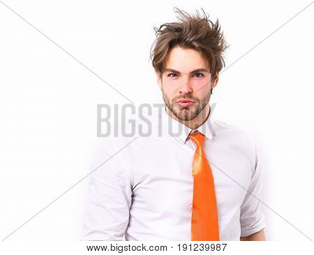 Bearded man short beard. Caucasian serious macho with moustache and ruffled hair have acid orange tie on white shirt isolated on white studio background office manager concept