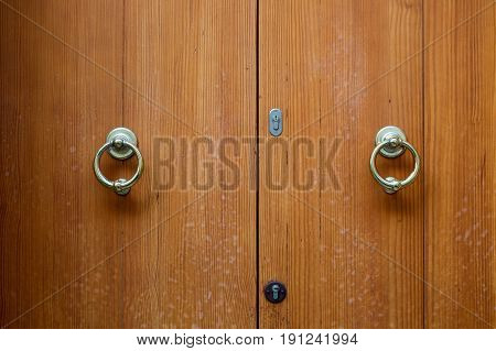 Old wooden door in a house close-up