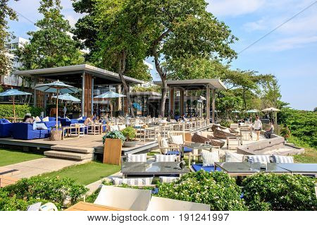 Pattaya, Chonburi, Thailand - May 6, 2017 : The terrace of restaurant or coffee shop name