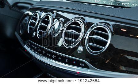 Luxury Car Interior Dashboard. Modern car details.