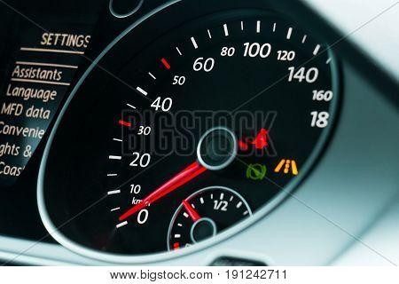 Vehicle Speedometer close up. Modern car details.
