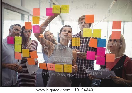 Group of business people planning with adhesive notes in creative office