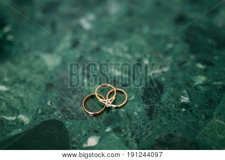 Wedding rings on the stones in the grass. Wedding in Montenegro.