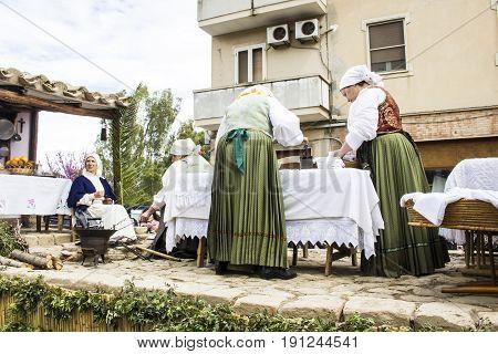 MURAVERA, ITALY - APRIL 2, 2017: 45^ citrus festival - Etnotraca parade of the association Villaputzu - Sardinia