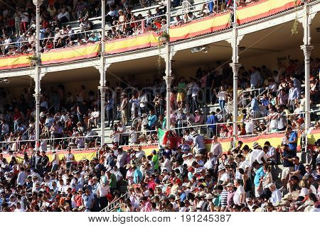 MADRID, SPAIN - MAY 25, 2017: Spectators fill the stands of the Las Vegas Bullring before the start of the bullfight.