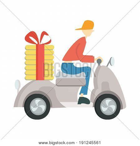Pizza delivery on a scooter. Man driving a moped. Vector illustration, isolated on white background.