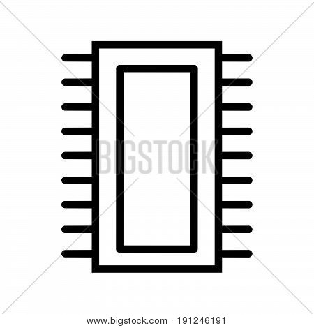 Simple thin line computer ic icon vector