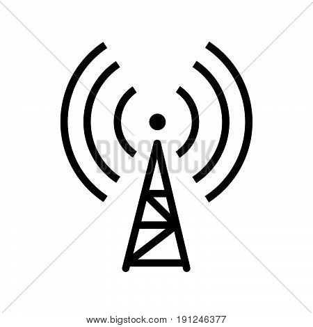 Simple thin line signal transmitter icon vector