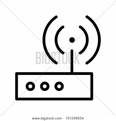 Simple thin line wifi transmitter icon vector