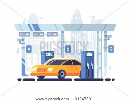 Car fueled at gas station. Fuel industry for machines. Vector illustration