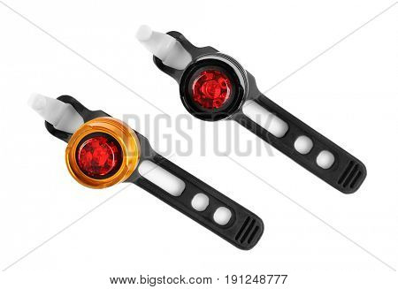 Bicycle flashers on white background