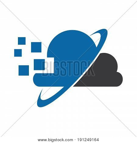 Abstract net cloud vector logo. Business cloud brand, cloud storage, files safety, sky cloud icon, clouds technology, backup, app, web design studio.Cloud network. Antivirus cloud logo.Clouds computer