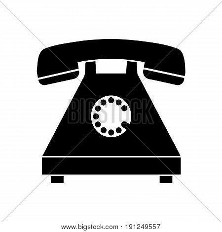 black silhouette old telephone vector - isolated on white background