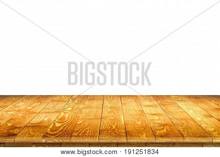 Empty wooden table perspective for product placement or montage with focus to table. Wooden board surface.