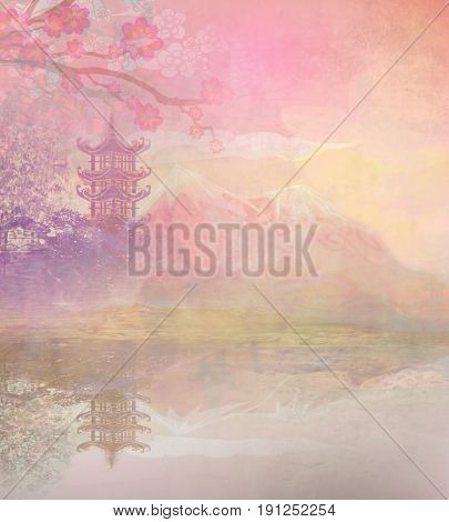 Abstract Asian Landscape with temple , raster
