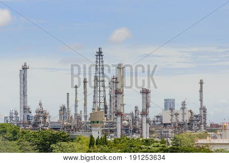 The refinery plant with the day light scene. The petrochemical industry.