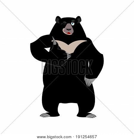 Himalayan Bear Thumbs Up And Winks. Cheerful Wild Animal Emoji. Black Big Beast