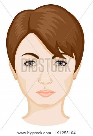 The face of a woman with short brown hair and gray eyes on white background