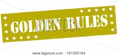 Stamp with text golden rules inside vector illustration