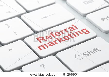 Advertising concept: computer keyboard with word Referral Marketing, selected focus on enter button background, 3D rendering