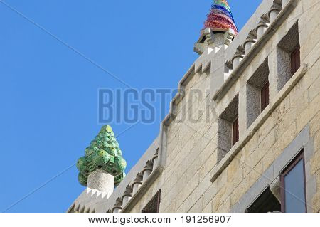 Beautiful Detail Of The Palace Guell By Gaudi­ In Barcelona, Spain