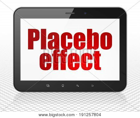 Medicine concept: Tablet Pc Computer with red text Placebo Effect on display, 3D rendering