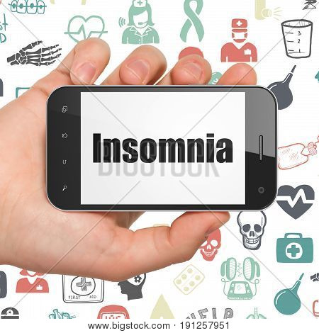 Medicine concept: Hand Holding Smartphone with  black text Insomnia on display,  Hand Drawn Medicine Icons background, 3D rendering